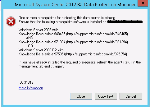 System Cener Data Protection Manager 2012