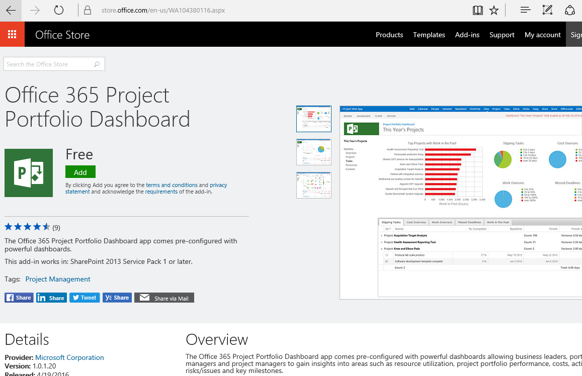 Project portfolio dashboard