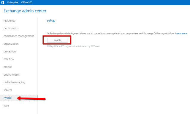 Exchange Admin Center: Hybrid setup