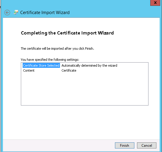 Certificate Import Wizard: cliccate su Finish