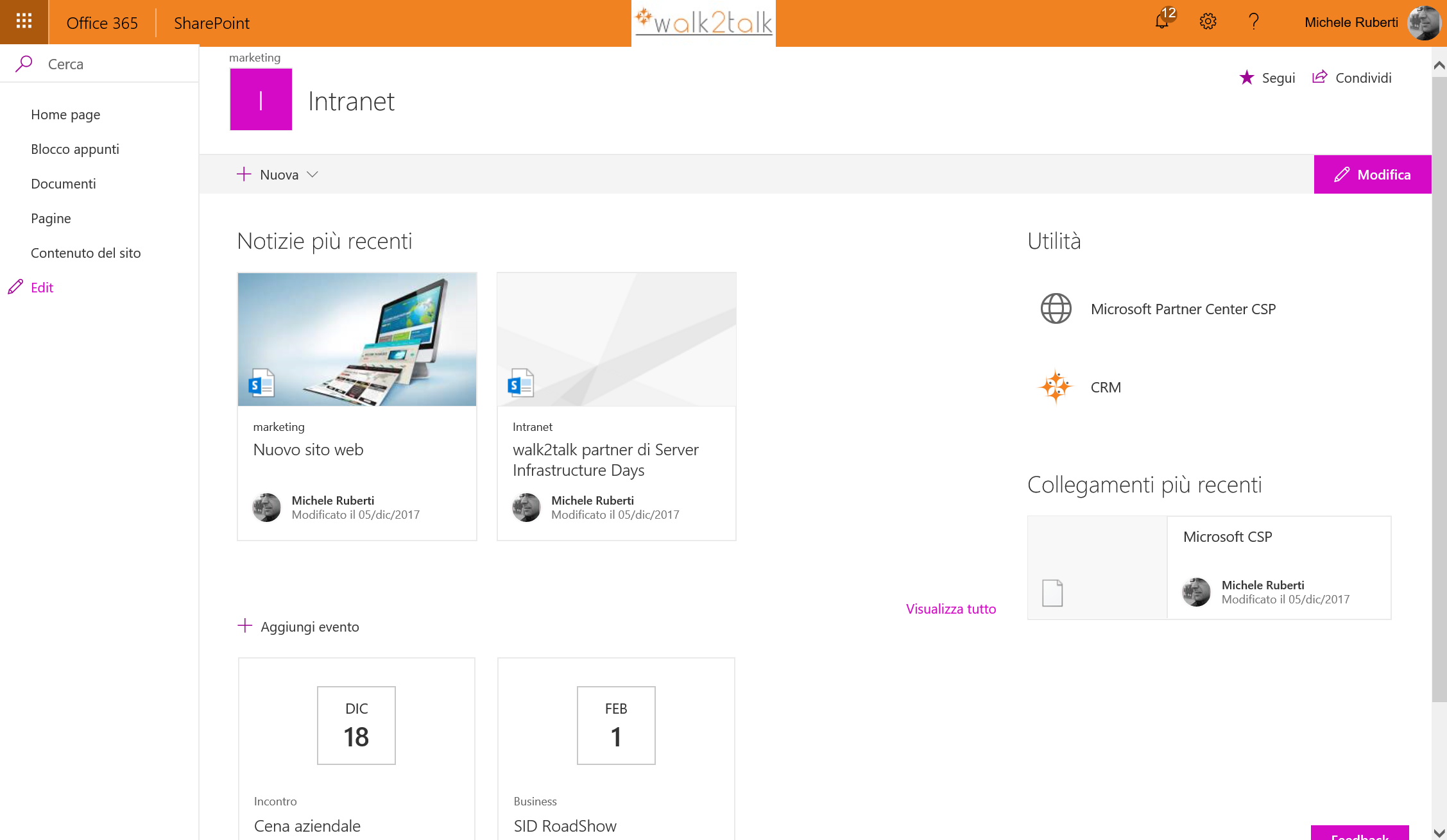 SharePoint Online rimuovere intestazione dalle modern pages