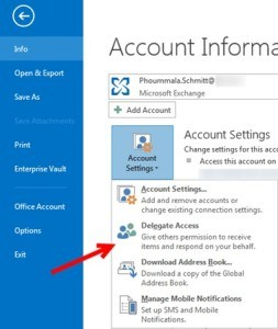 Account Setting nel client Outlook