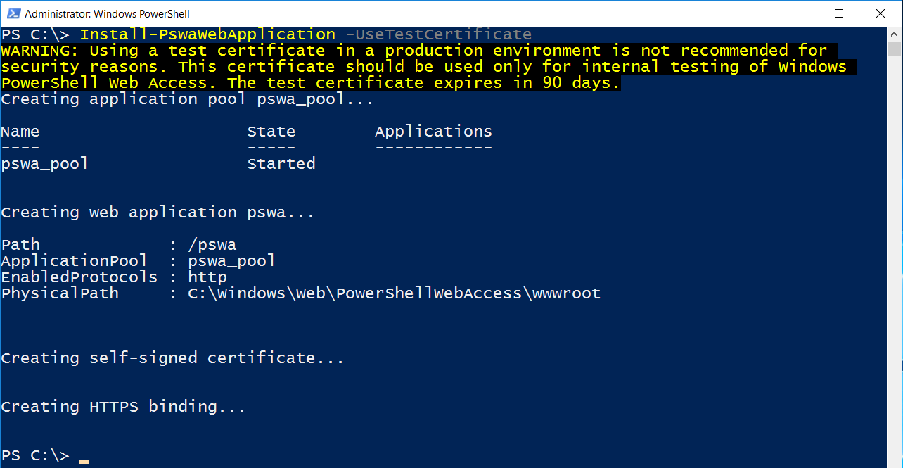 installare PowerShell Web Access