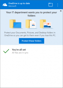 Migra i tuoi file su OneDrive con Known Folder Move - activity center message