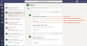 Notifiche relative all'assegnazione di task di Planner all'interno di Microsoft Teams