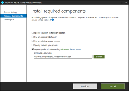 Screenshot that shows the Install required components screen